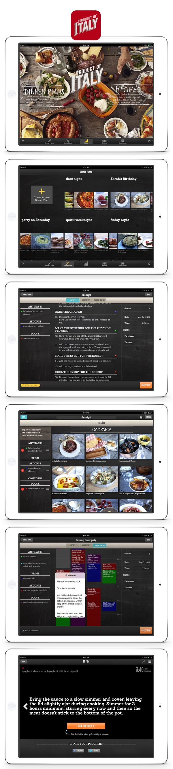 Dinner party recipes, interactive food series  and menu builder app on iTunes from Italian Supper Club chef Massimo Bruno. Combines your custom menus into one collapsed recipe.  www.productofitaly.ca