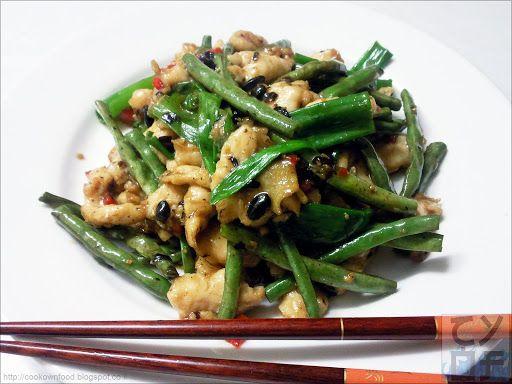 Chicken with Long Beans in Black Bean Sause | Курица со спаржевой фасолью и черными бобами (豆豉长豆雞)
