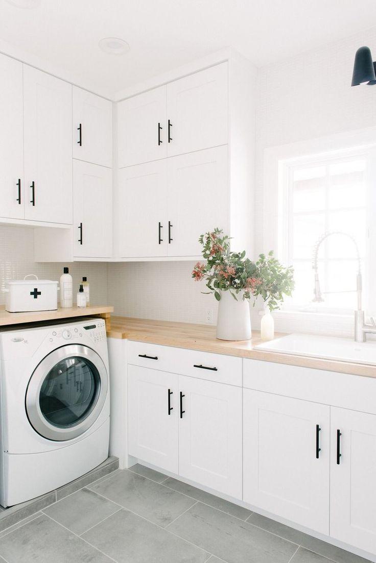 Studio McGee Laundry Room Makeover Black White Wood