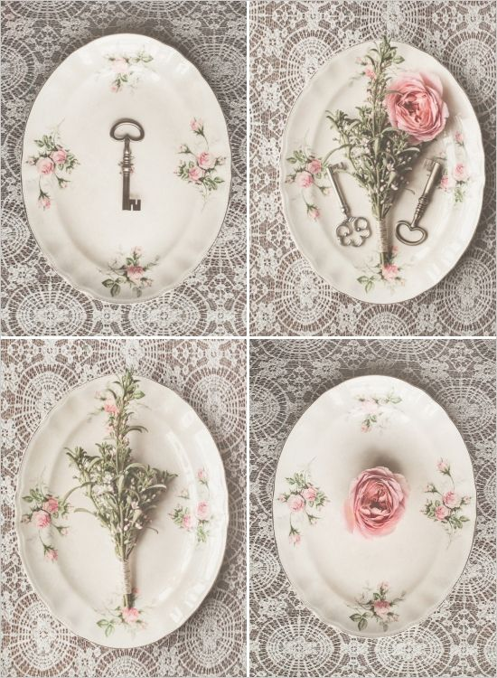 Vintage china and keys as wedding decor. Captured By: Destiny Dawn Photography ---> http://www.weddingchicks.com/2014/05/29/love-letters/