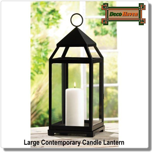 Large Contemporary Candle Lantern - Contemporary candle lantern in an impressive size and simple shape. This sleek metal candle lantern lends a clean, contemporary feel to any surrounding.