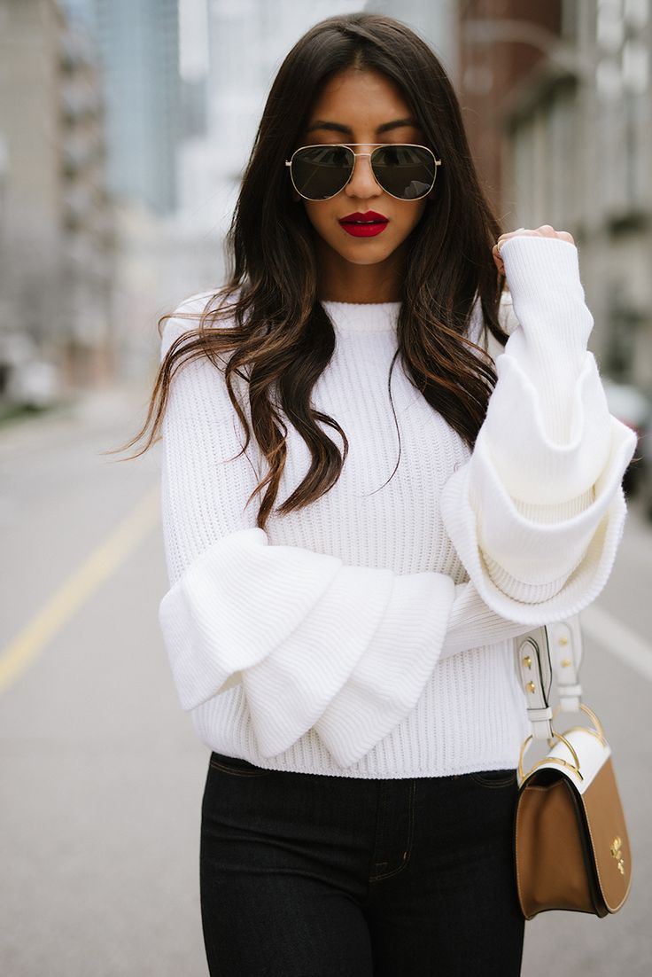 Fall Fashion Style 2017 - Ruffled White Sweater - yes or no? Ask Styl. Snap a photo and receive instant fashion feedback. Download here --> www.STYLADVICE.com