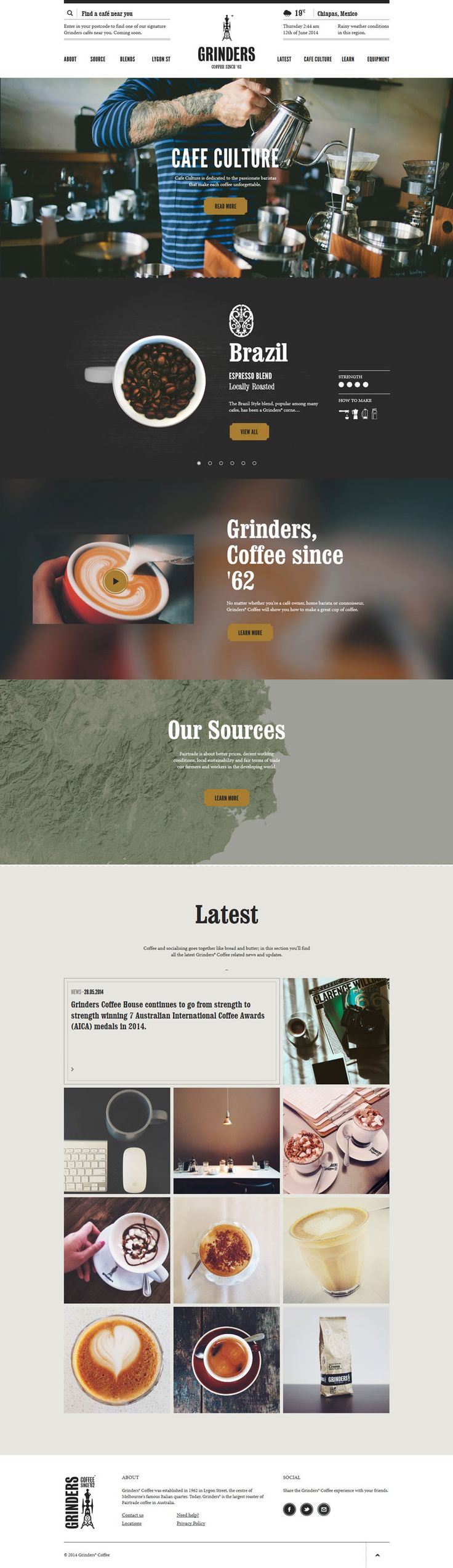 Grinders Coffee House, modern vintage design website, example