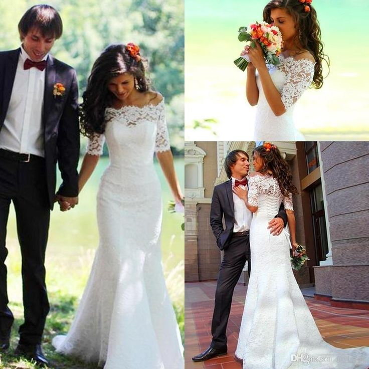 2015 Romantic Fall Winter Long Wedding Dresses White Off the Shoulder Lace Sheer Half Sleeves Lace-up Mermaid Bridal Gowns with Chapel Train