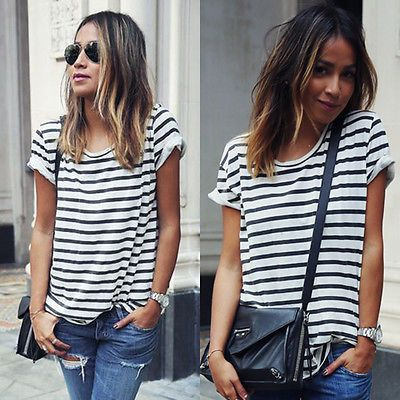 2016 New Summer Style O Neck Women Tops Striped Short Sleeve Female T-Shirts Batwing Loose Chiffon Shirt