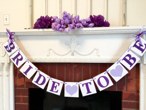 Purple BRIDAL SHOWER decorations  Bride to by anyoccasionbanners