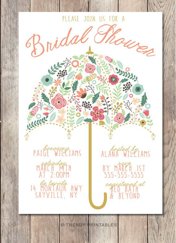 Bridal Shower Invitation, Umbrella Bridal Shower Invite, Pretty Bridal Shower Invite, Printable Bridal Shower Invite, Floral Shower Invite