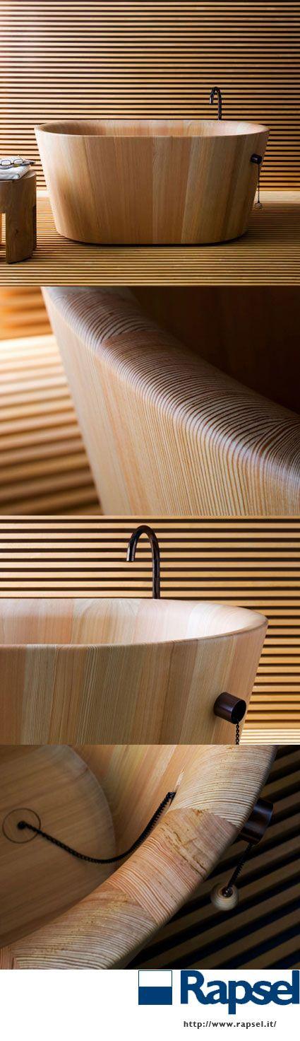 Larch wood ofuro from Rapsel, an Italian company.  http://www.rapsel.it