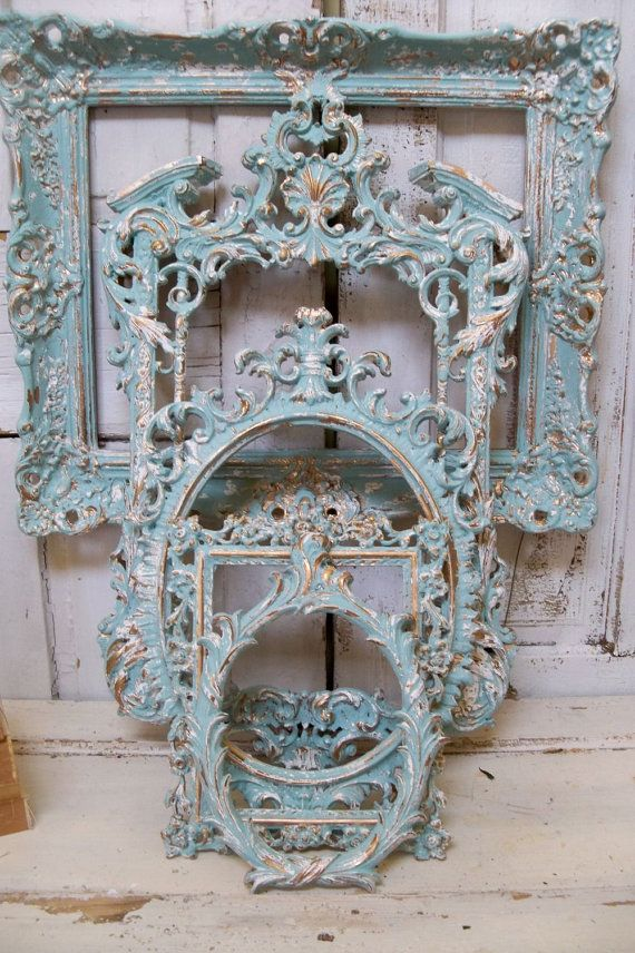 Frame grouping ornate very light blue aqua by AnitaSperoDesign, $540.00