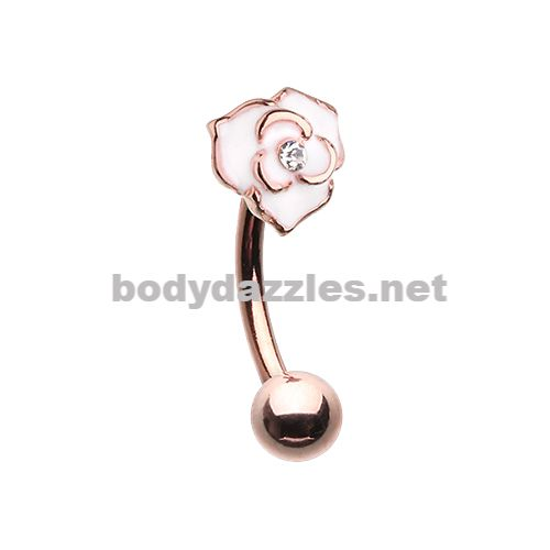 Rose Gold Blooming Rose Curved Barbell Eyebrow Ring 16ga Daith Rook Ring