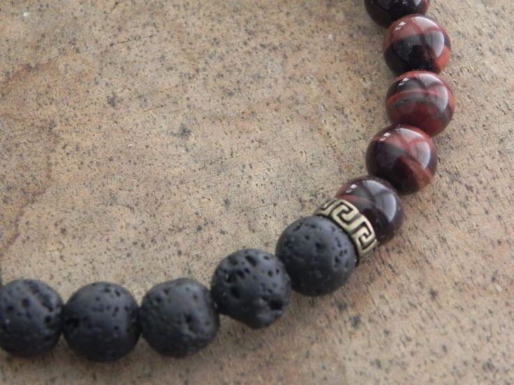 Mens Gemstone, Healing, Surfer Bracelet 8mm Black Lava  and Tiger Eye beads