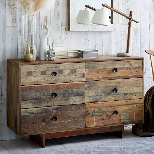 Emmerson Reclaimed Wood 6 Drawer Dresser   Natural | West Elm