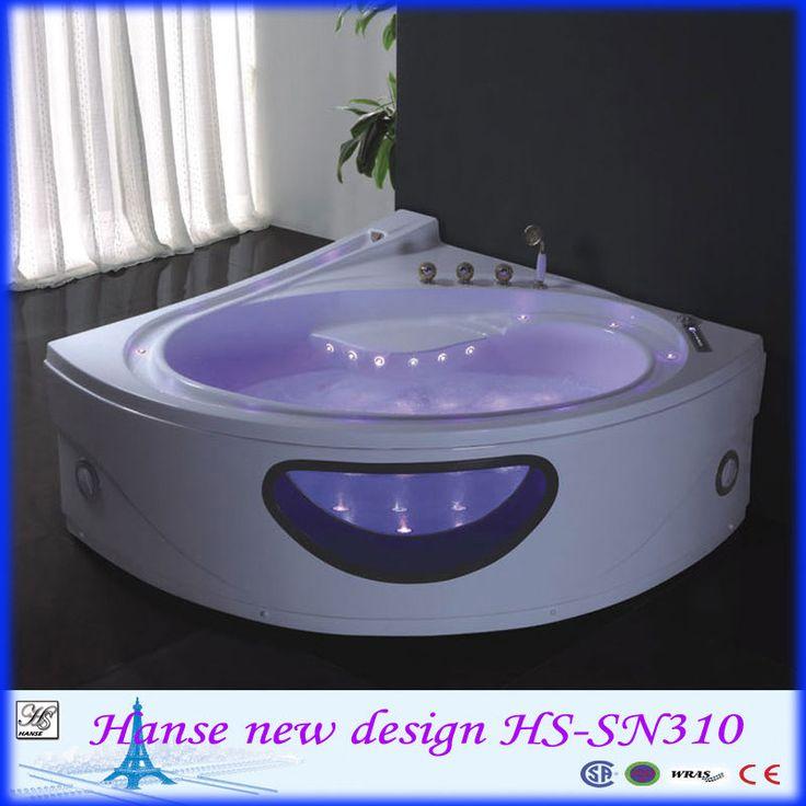 Petite baignoire d 39 angle en forme de coeur avec le verre baignoire jets d 39 eau hs b310 for Petite baignoire d angle