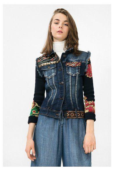 Chaqueta tejana con mangas de jersey | Desigual.com