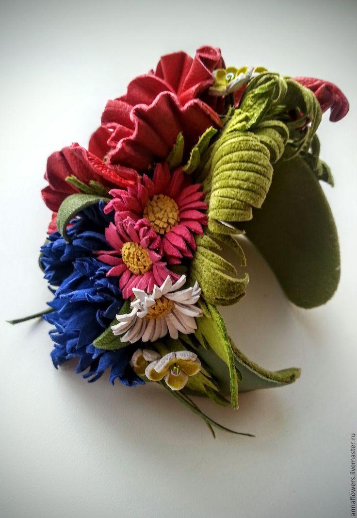 """Купить Браслет из кожи """" Разноцветье """" - разноцветный, браслет из кожи, браслет с цветами"""