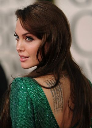 angelina jolie in emerald green