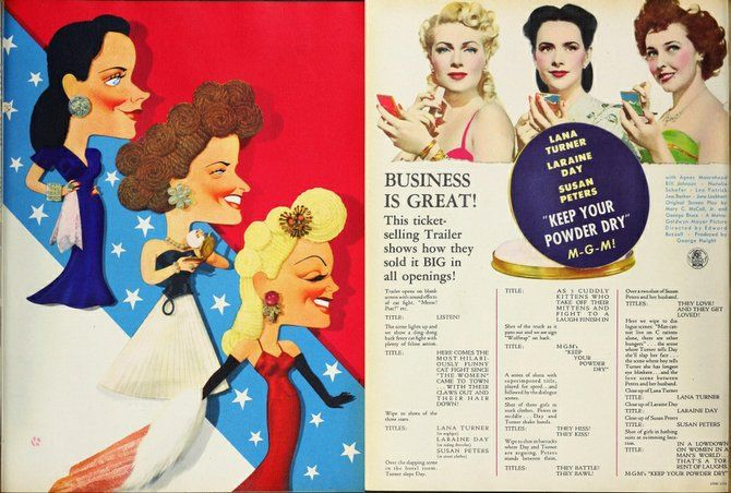 """THE FILM DAILY -  March 22, 1945. Susan Peters, Laraine Day, and Lana Turner in Eddie Buzzell's """"Keep Your Powder Dry."""" Never saw it. Have t..."""