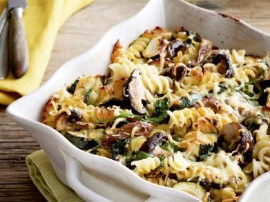 Pastagratin met champignons en spinazie