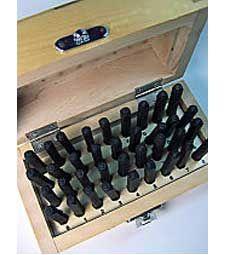 1.5mm Steel Alphabet and Numeral Stamp Set Steel Alphabet Sets in Wooden Boxes Set in wooden chest $16