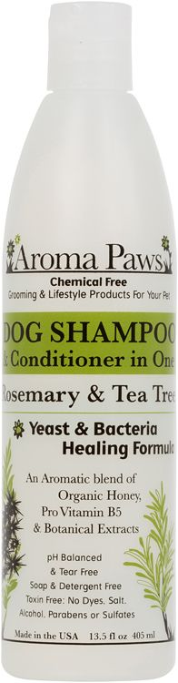 Aroma Paws Rosemary Tea Tree Shampoo and Conditioning Coat Spray Rosemary oil is beneficial for dry and flaky skin and promotes hair re-growth. Tea Tree oil is antimicrobial and helps heal yeast and bacterial skin infections.  Naturally heals     Fragrance Description: Tea Tree oils herbal & spicy notes blend with the outdoors, pine tree essence of pure rosemary. www.aromapaws.com