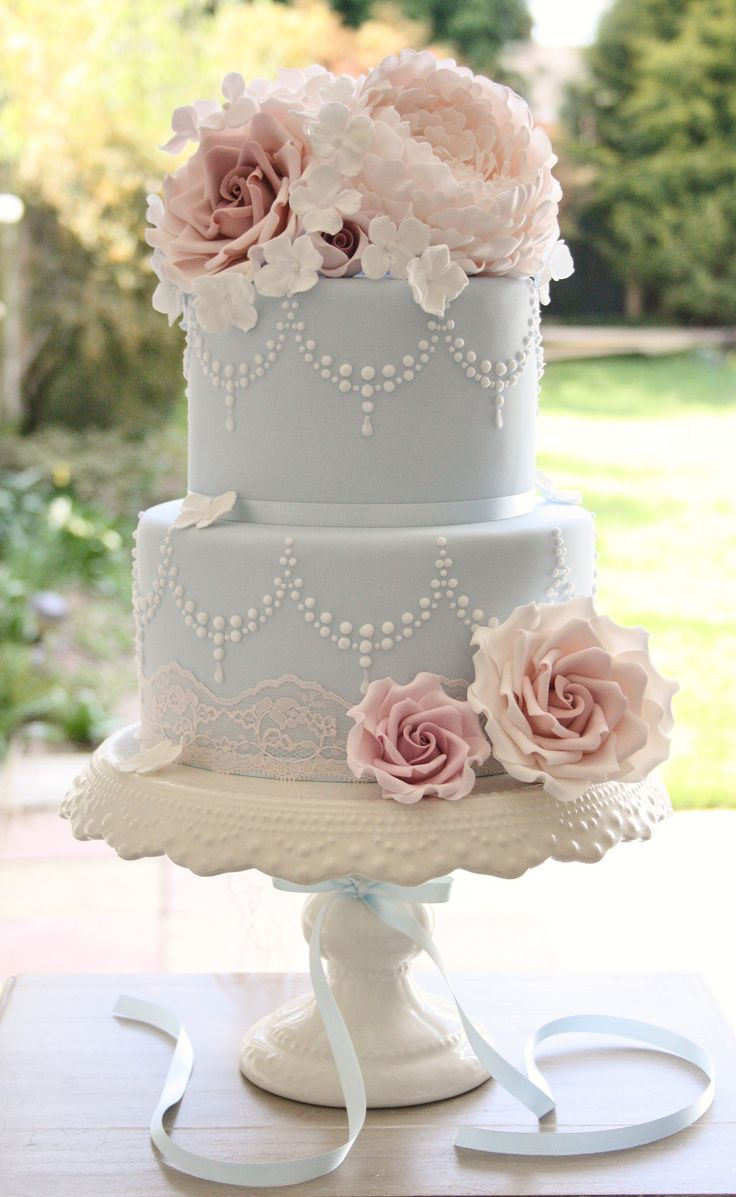 Wedding cake with vintage roses, lace and piped swags.