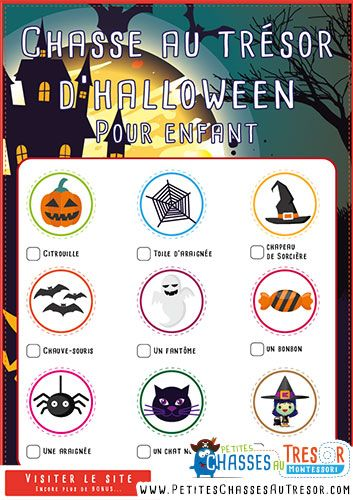 La chasse au trésor d'halloween pour enfant