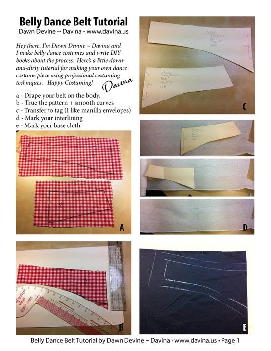 Page 1 of a down-and-dirty bellydance belt making tutorial by Dawn Devine ~ Davina www.davina.us