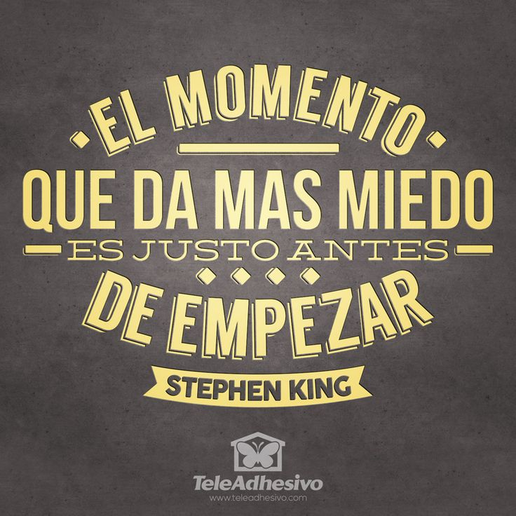 """Vinilo decorativo tipográfico de la frase célebre motivadora de Stephen King """"El…"""