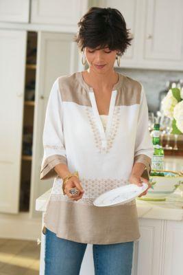 Eliza Shirt - Satin Cotton Shirt, Ruffle Sleeve Shirt, Border Print Shirt | Soft Surroundings