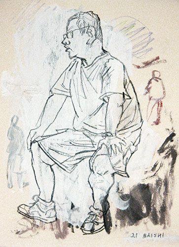 Steve Lopes: 'Feijiacun Village Study 9', 2011 - 2012, mixed media on paper, 23 x 18 cm