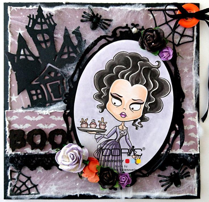 Cristina Valenzuela, Alicia Bel, Card, Halloween, Copic in Spain, Piel: E01, E00, E000, E30. Cabello: T7, T5. Vestido: V22, V25. Fondo: V20. Pasteles: E21, E70, E71. Bandeja: T3, T1.