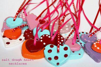 Salt Dough Valentine Heart Necklaces:  Salt dough: 1 c. salt, 2 c. flour, 1 c. water--Bake 1-2 hrs. @ 200 degrees until dry; paint w/acrylic paint & seal with glossy acrylic sealer