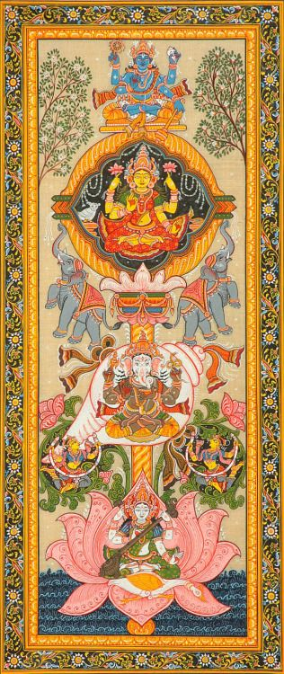 Vishnu Lakshmi, Ganesha and Saraswati Artist: Rabi Behera. Puri (Orissa) Paata Painting on Tussar Silk Fabric (via Exotic India)