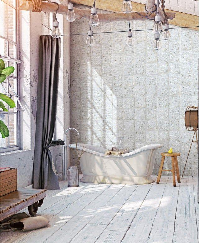 Carrelage Mur Et Sol Carreau De Ciment Blanc Mat L 20 X L 20 Cm Victoria Ciment Blanc Plancher Blanc Sol Carreaux De Ciment