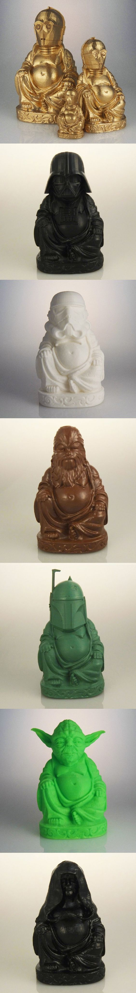 """3D Printed Geeky Laughing Buddhas: What is the Sound of One Han Shooting? Tap into the force of Luck with Chris """"muckychris"""" Milnes' 3D printed geeky Budai statues, which swaps the jelly bellied deity's head with characters from Star Wars:"""