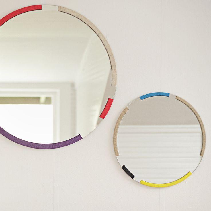 coloured round mirrors: Round Mirrors, Interior, Ideas, Color, Grains, Wrapped Mirror, House, Diy, Design