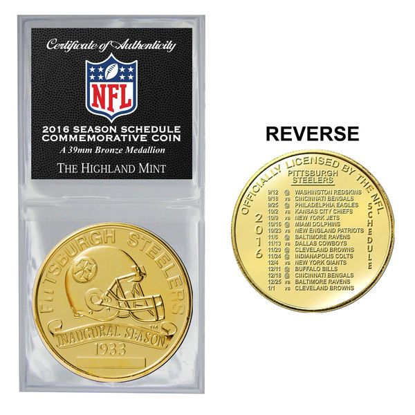 Pittsburgh Steelers Highland Mint 2016 Schedule Bronze Coin - $14.99