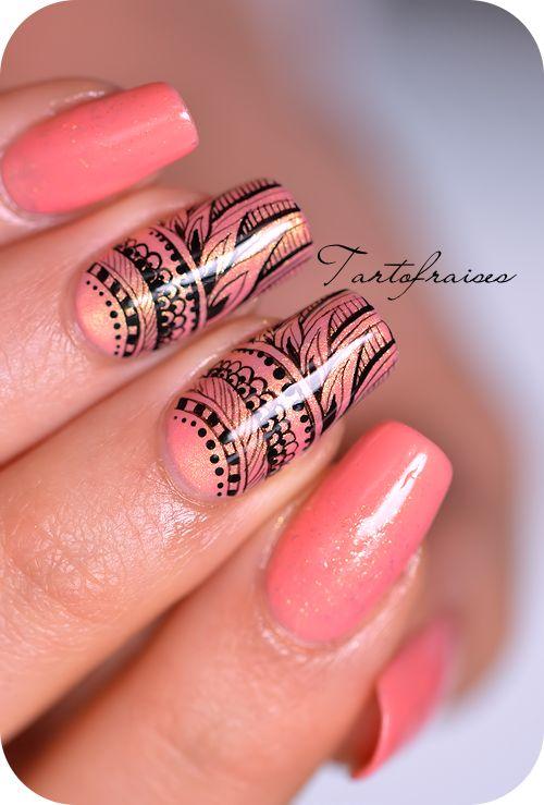 nail art stamped | Nail art « extrême détail » Repro d'un motif stamping