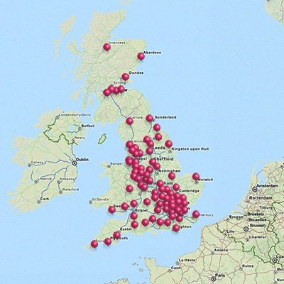 stores' map - hobbycraft shops in england