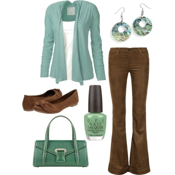 outfit....replace brown jeans with brown dress pants