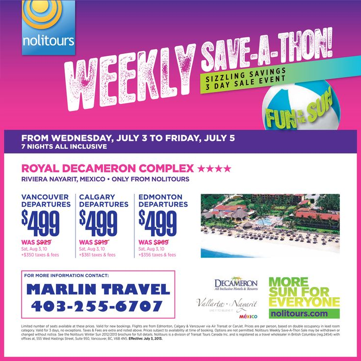 Nolitours Weekly Wednesday Sale -- good till 05Jul13