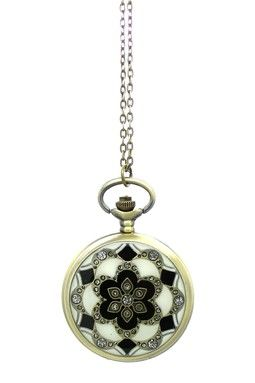 Lotus Flower Pocket Watch Necklace