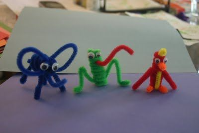 pipe cleaner animals...hmmm..that last one could be a Perry the Platypus for Kaleb with a few adjustments.