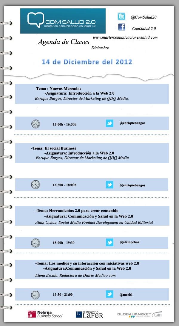 Agenda 14 de Diciembre del 2012 - Máster en Comunicación en Salud 2.0 (ComSalud 2.0)