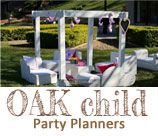Oak Child Event Planning - Durban, is an upscale event planner specializing in children's & adult parties. Our events consist of amazingly detailed party packages complete with elaborate decor and table settings, unique favors, professional hostesses, etc… Oak Child services also include adult and children's table/chair rental, and lounging solutions and decor hire. Please browse through our website and photo gallery to see how we can be of service to you.
