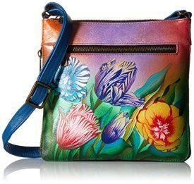 Anuschka Medium Crossbody TTPS, Turkish Tulips, One Size  Trendy, Cute and Luxurious Hand Painted Leather Purses      Hand painted leather purses are truly eye-catching, unique and cool.  In fact they are currently trending like crazy!  Obviously when you combine beautiful hand painted art, on fine quality leather the result is a timeless and charming creation just for you.