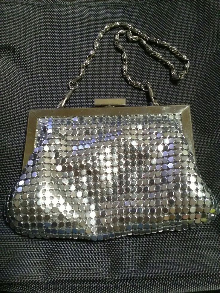 Modern Mesh - Valleygirl Brand small clutch bag with chain strap in silver