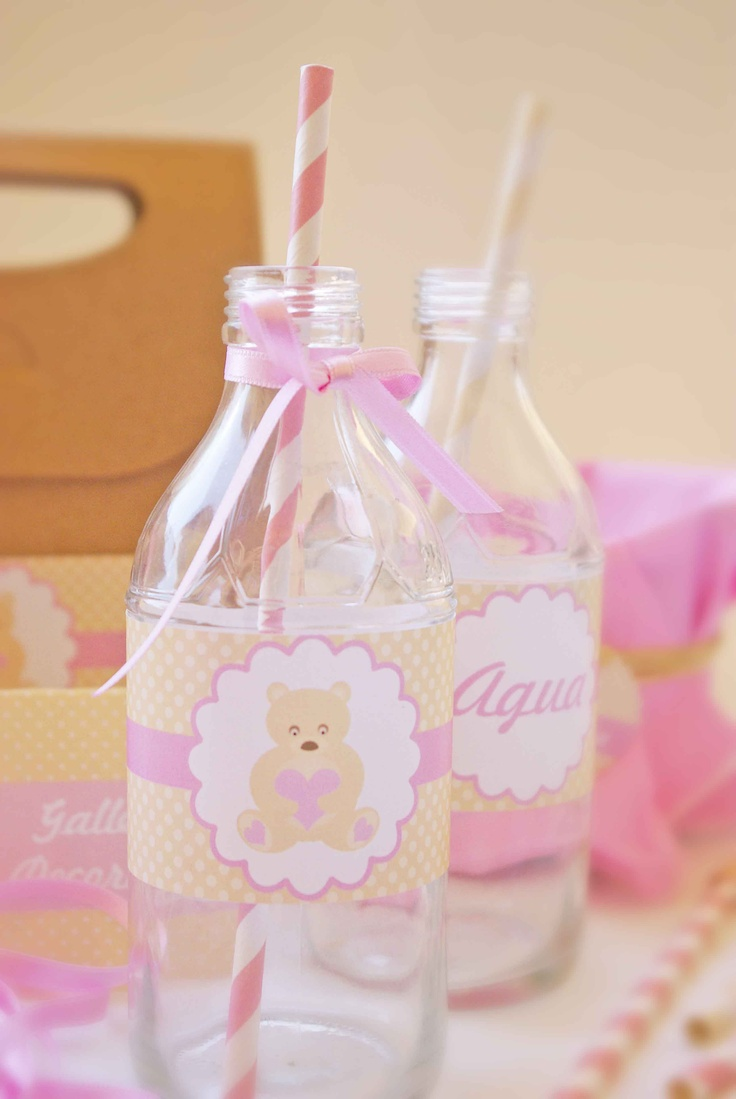 fajines para decorar botellas de agua baby shower pinterest