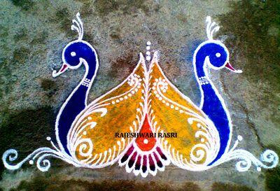 Peacock Pair Rangoli
