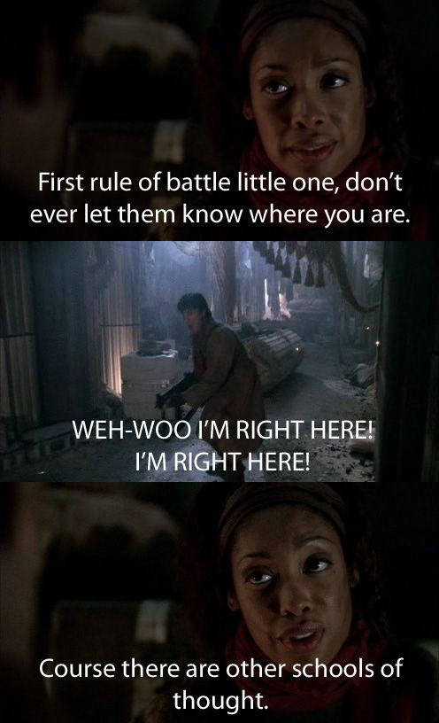 Personally one of my favorite scenes. I love how perfectly it shows the personalities of the two during the war and how little they've changed in little things like fighting their enemies. Zoe is cool and calm, ready for a sneak attack while Mal is all for charging out guns blazing =]